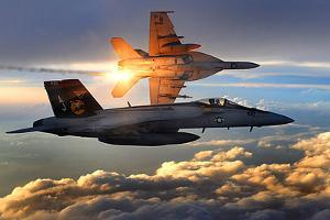 F/A-18 Super Hornets (Flying in Sunlight)