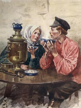 Tea Samovar, Russia by F. De Haenen