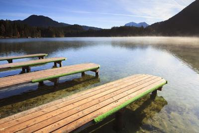 Jetties on Lake Hintersee, Bavaria, Germany by F. Lukasseck