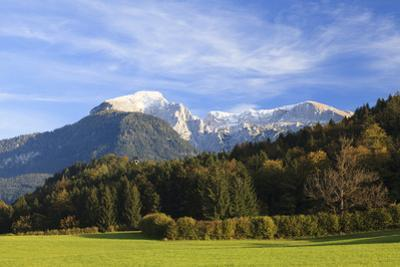 Pasture and Trees in Front of Kehlsteinhaus and Hoher Goll, Bavaria, Germany by F. Lukasseck