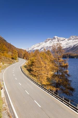 Road along Lake Sils with Piz Corvatsch, Engadin, Switzerland by F. Lukasseck