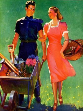"""Pushing Her Wheelbarrow,""April 1, 1938"