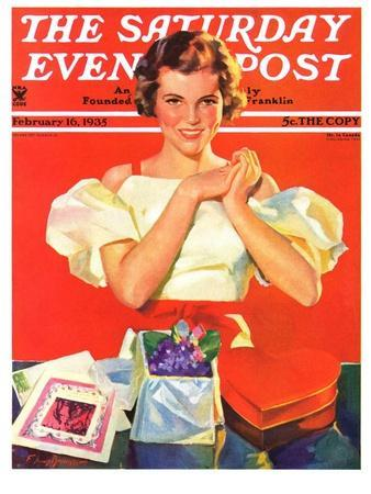 """""""Valentine's Gifts,"""" Saturday Evening Post Cover, February 16, 1935"""
