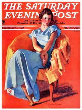 """""""Woman in Chair,"""" Saturday Evening Post Cover, September 1, 1934"""