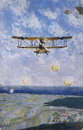 """German """"Albatros"""" Fighter is Fired on from the Enemy Lines"""