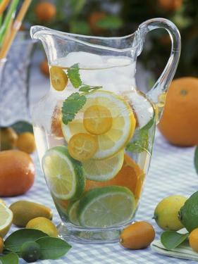Jug of Water with Citrus Fruit, Lemon Balm and Ice Cubes by F. Strauss
