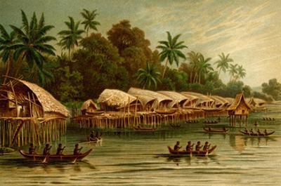Village on Stilts - New Guinea by F.W. Kuhnert