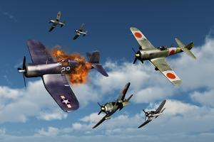 F4U Corsair Aircraft and Japanese Nakajima Fighter Planes in Aerial Combat