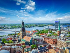 Aerial View of Riga Center from St. Peter's Church, Riga, Latvia by f9photos