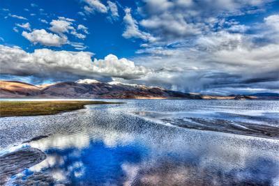High Dynamic Range Image (Hdr) of Himalayan Mountain Lake in Himalayas Tso Moriri, Korzok, Changtha