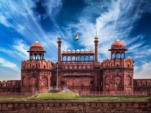India Travel Tourism Background - \Red Fort (Lal Qila) Delhi - World Heritage Site. Delhi, India by f9photos