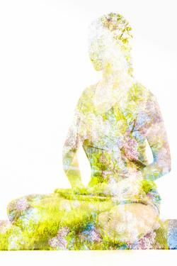 Nature Harmony Healthy Lifestyle Concept - Double Exposure Image of Woman Doing Yoga Lotus Position by f9photos
