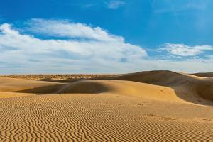 Panorama of Dunes Landscape with Dramatic Clouds in Thar Desert. Sam Sand Dunes, Rajasthan, India by f9photos