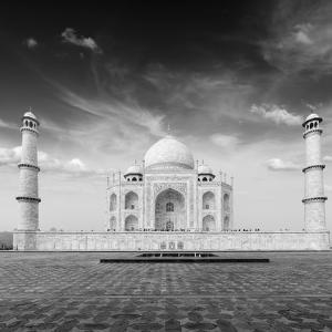 Taj Mahal. Indian Symbol - India Travel Background. Agra, India. Black and White Version by f9photos