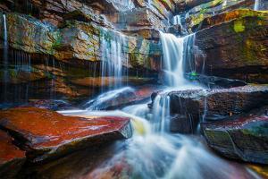 Tropical Waterfall. Popokvil Waterfall, Bokor National Park, Cambodia by f9photos