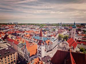 Vintage Retro Effect Filtered Hipster Style Travel Image of Aerial View of Munich - Marienplatz And by f9photos