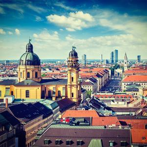 Vintage Retro Effect Filtered Hipster Style Travel Image of Aerial View of Munich over Theatine Chu by f9photos