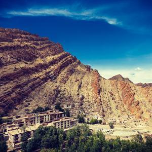 Vintage Retro Effect Filtered Hipster Style Travel Image of Hemis Gompa (Tibetan Buddhist Monastery by f9photos