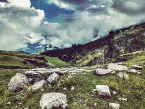 Vintage Retro Effect Filtered Hipster Style Travel Image of Mountain Landscape in Himalayas. Kullu by f9photos