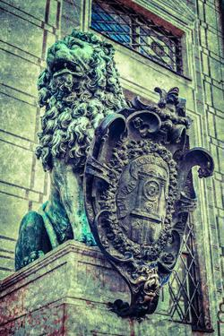 Vintage Retro Hipster Style Travel Image of Bavarian Lion Statue at Munich Alte Residenz Palace in by f9photos