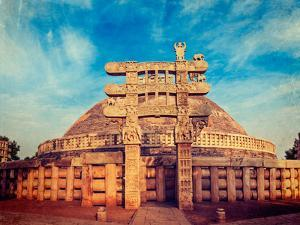 Vintage Retro Hipster Style Travel Image of Great Stupa - Ancient Buddhist Monument with Overlaid G by f9photos