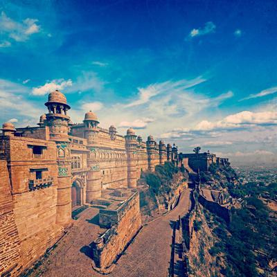 Vintage Retro Hipster Style Travel Image of India Tourist Attraction - Mughal Architecture - Gwalio