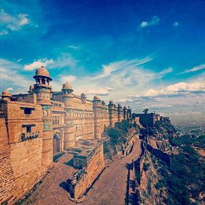 Vintage Retro Hipster Style Travel Image of India Tourist Attraction - Mughal Architecture - Gwalio by f9photos