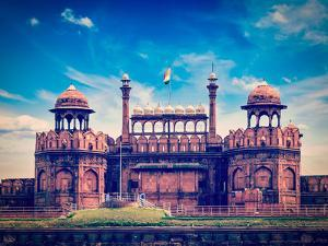Vintage Retro Hipster Style Travel Image of India Travel Tourism Background - Red Fort (Lal Qila) D by f9photos
