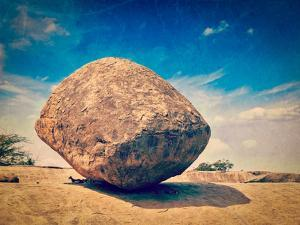 Vintage Retro Hipster Style Travel Image of Krishna's Butterball -  Balancing Giant Natural Rock St by f9photos