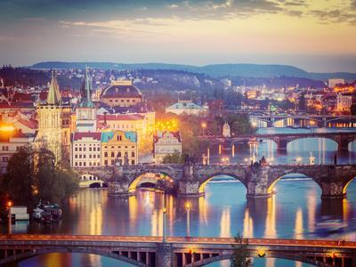 Vintage Retro Hipster Style Travel Image of Travel Prague Concept Background - Elevated View of Bri