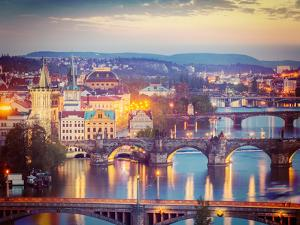 Vintage Retro Hipster Style Travel Image of Travel Prague Concept Background - Elevated View of Bri by f9photos