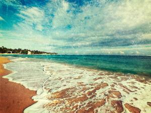 Vintage Retro Hipster Style Travel Image of Tropical Paradise Idyllic Beach with Grunge Texture Ove by f9photos
