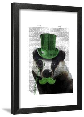 Badger with Green Top Hat and Moustache by Fab Funky