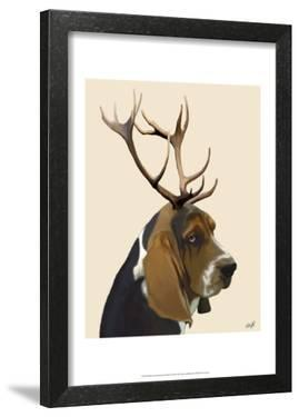 Basset Hound and Antlers by Fab Funky