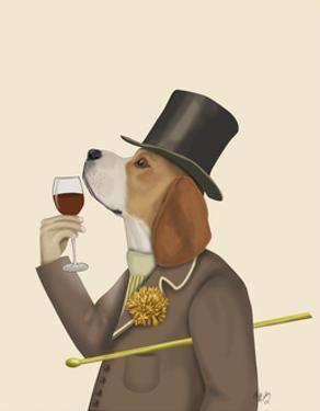 Beagle Wine Snob by Fab Funky