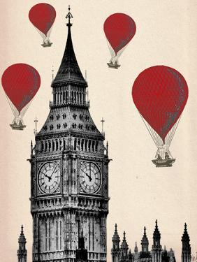 Big Ben and Red Hot Air Balloons by Fab Funky