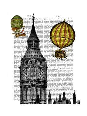 Big Ben and Vintage Hot Air Balloons by Fab Funky