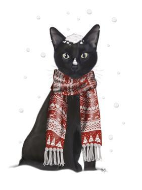 Black Cat, Red Scarf by Fab Funky