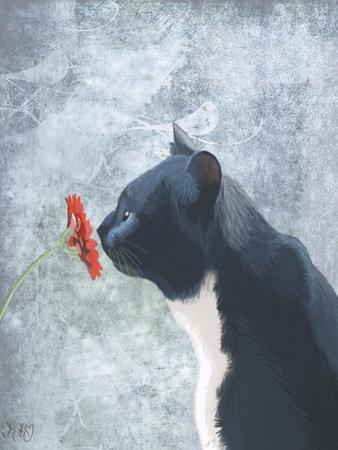 Black Cat Sniffing Flower by Fab Funky