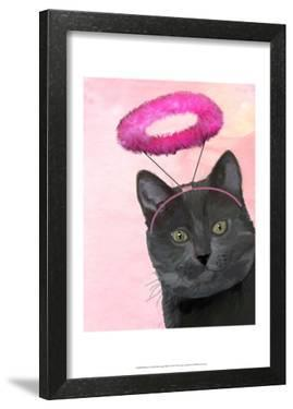 Black Cat With Pink Angel Halo by Fab Funky