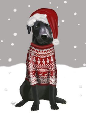 Black Labrador, Christmas Sweater 1 by Fab Funky