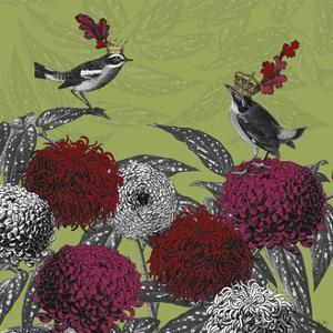 Blooming Birds, Chrysanthemum 1, Fine Art Print by Fab Funky