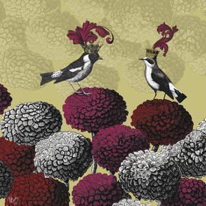 Blooming Birds, Chrysanthemum 2, Fine Art Print by Fab Funky