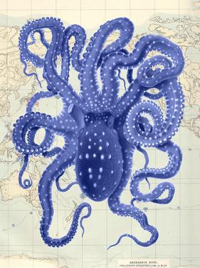 Blue Octopus 2 on Nautical Map by Fab Funky