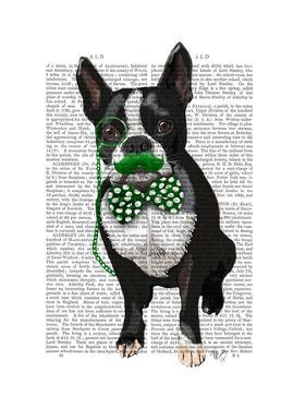 Boston Terrier With Green Moustache And Spotty Green Bow Tie by Fab Funky