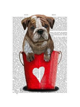 Bulldog Bucket Of Love Red by Fab Funky