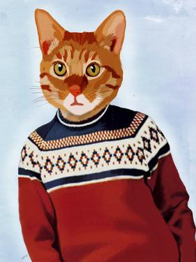 Cat in Ski Sweater by Fab Funky