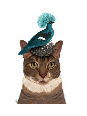 Cat with Nest and Blue Bird by Fab Funky