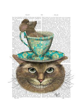 Cheshire Cat with Cup on Head by Fab Funky