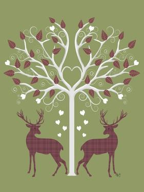 Christmas Des - Deer and Heart Tree, Pink On Green by Fab Funky